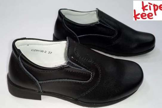 Black Leather  School Shoes