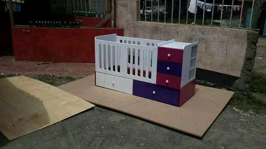 Functional Beautiful Standad Baby Cot With Drawers image 1