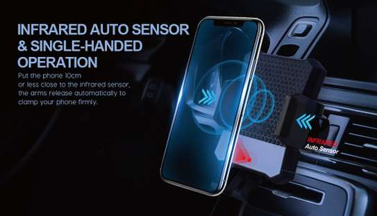 Infrared automatic clamping wireless car charger mount image 2