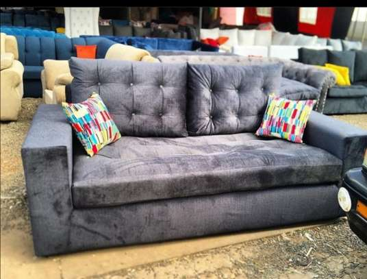 Grey 3 seater back pillowed couch image 1