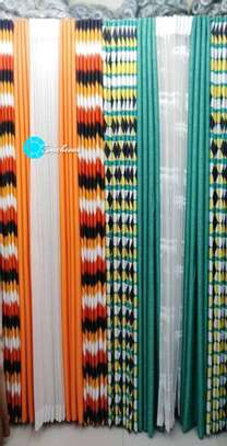 orange and blue double-sided curtains image 1