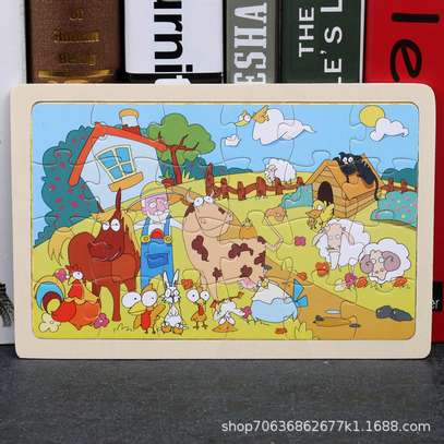 4PCS/3D Wooden Jigsaw Puzzles for Children Kids Toys Cartoon Animal/Traffic Puzzles Baby Educational Puzles image 5