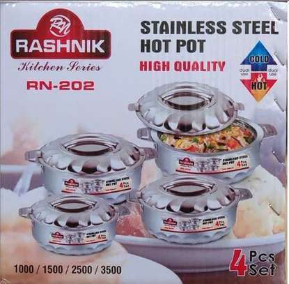 4 piece stainless steel hot pots image 1