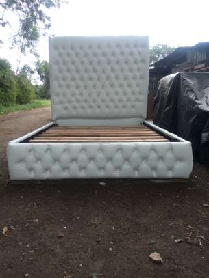 Upholstered 5*6 White bed