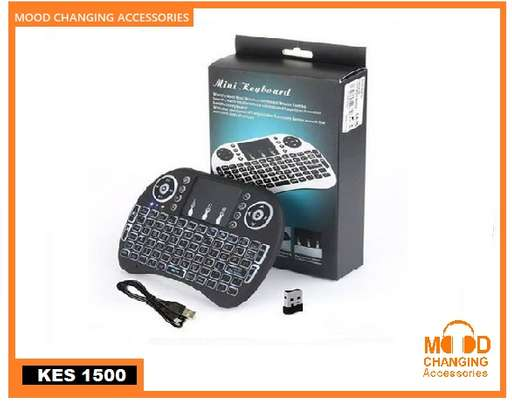 Wireless Mini Keyboard with Touch Pad Mouse and LED Light – Black image 2