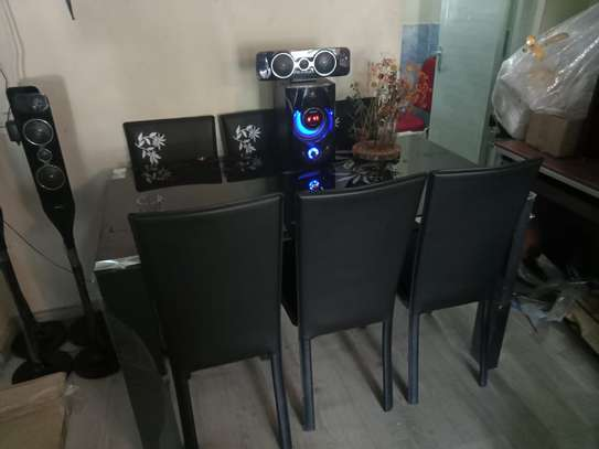 6-Seater Glass-Top Dining Set image 1