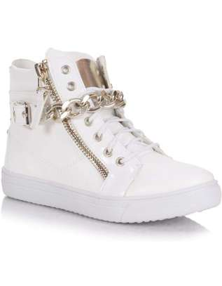 Hightop canvas shoes for women: laceup casuals: size 41 image 3