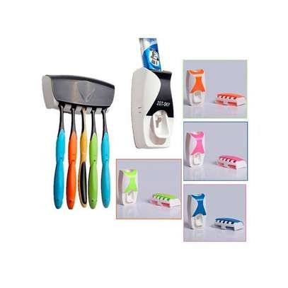 toothbrush holder and toothpaste dispenser image 1