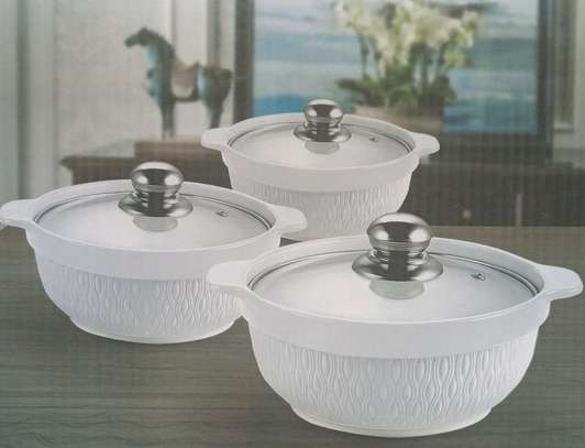 3pcs set Ceramic serving dishes with glass cover image 5