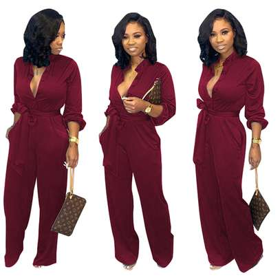 Button Up Long Sleeve Pure Jumpsuit with Belt Sizes M L XL. image 3