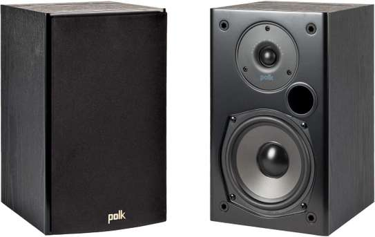 Polk Audio T15 100 Watt Home Theater Bookshelf Speakers (Pair) - Premium Sound at a Great Value | Dolby and DTS Surround | Wall-Mountable,Black image 1
