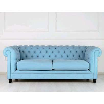 Modern blue three seater sofa set/Chesterfield sofas/Latest sofa designs for sale in Nairobi Kenya/Sofas and couches manufacturers in Nairobi Kenya image 1