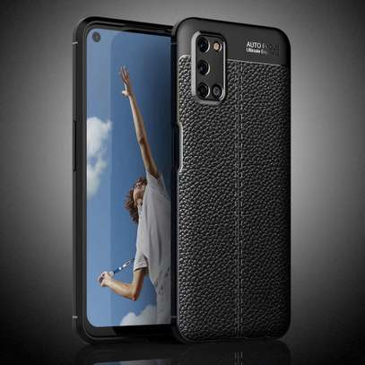 Auto Focus Leather Pattern Soft TPU Back Case Cover for Oppo A92 image 1