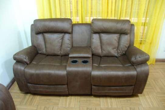 6 Seater Microfiber fabric recliner sofas image 1