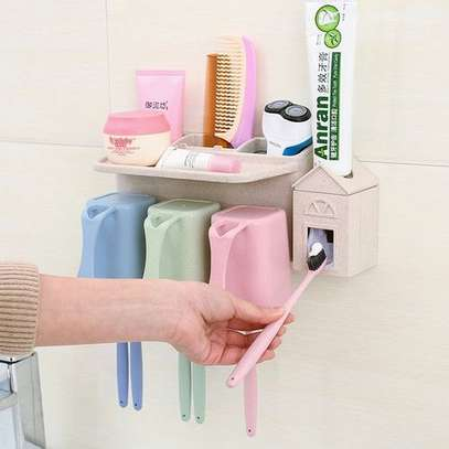 Toothpaste Dispenser With Tooth Brush Holder-3(Packs) image 1