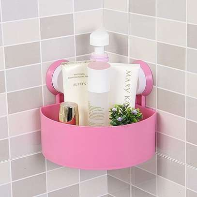 Wall Corner Triangular Shelf Organizer Rack with Suction Cup - Pink