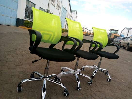 Green mesh chairs