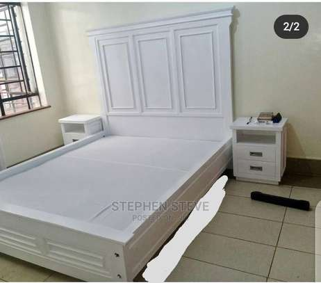 Bed 5by 7well Painted White image 1