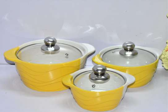 Classy Ceramic Serving Dish 3pcs Set with Glass Cover