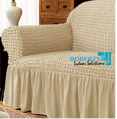 Beige 7 sitter elastic sofa cover image 1