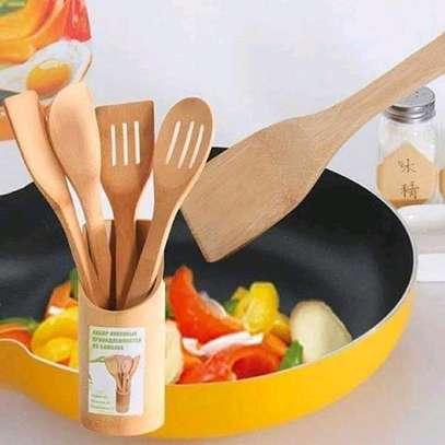 4pcs +1holder Bamboo wooden spoon set image 3