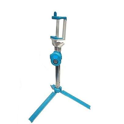 Selfie Booth Bluetooth Selfie Stick With Tripod Stand - Blue image 1