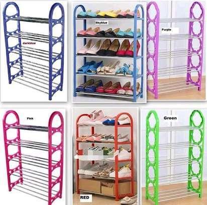 5 tier 15 pairs Foldable portable shoe rack organizer image 1