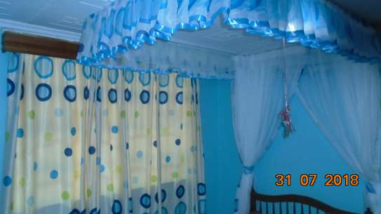 Mosquito Nets Sliding Like Curtains Fixed On The Ceiling image 2