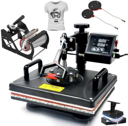 5 in 1 Heat Press Machine Combo Machine Size 12 X 15 Inch Vinyl Transfer Sublimation DIY T-Shirt/Hat/Mug/Plate/Cap and More image 1