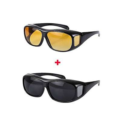 Day And Night Driving Glasses Anti Glare Vision Driver Safety Sunglasses -Brown And Black