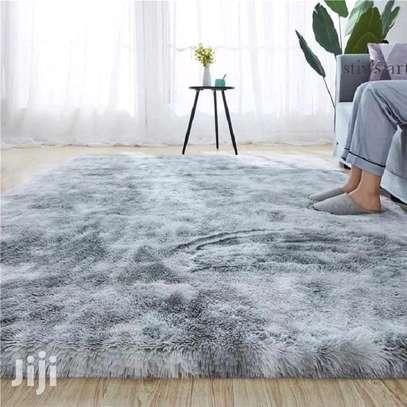 Light blue patched fluffy antiskid carpet 7*8 image 1
