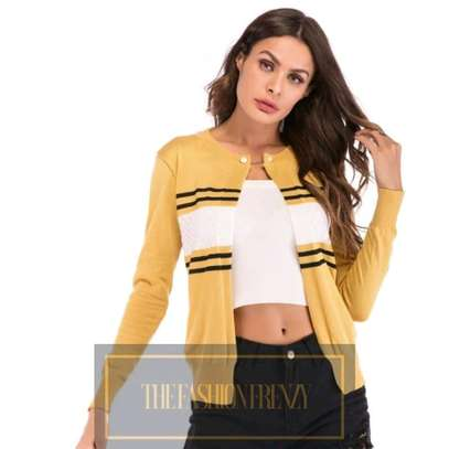Yellow Stripped One Button Cardigan