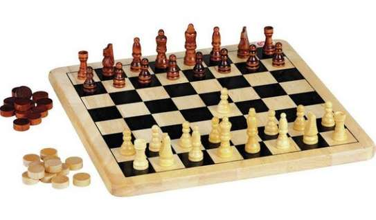 2 in 1 chess board with draft game image 1