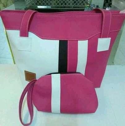 Fashion tote handbag,pink and white image 1