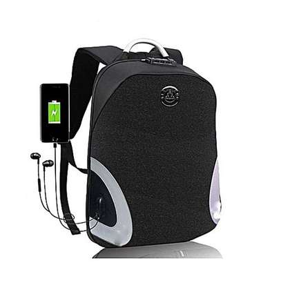 USB Charging/Earphones Ports Anti Theft Backpack Waterproof Smart Backpack with Coded Lock - Blue image 2