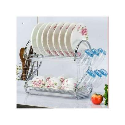 2 Tier Dish Rack Stainless Steel, With Drain Board image 1