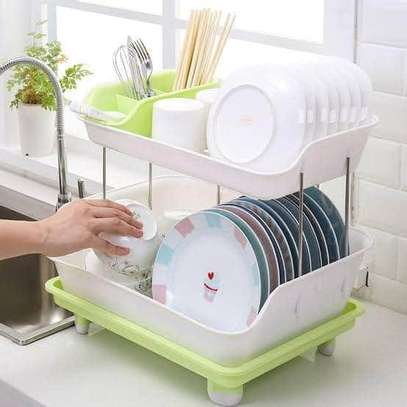 2-Tier Plastic Dish Storage Rack -Big To Fit Utensils image 2