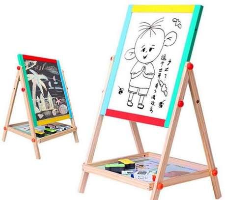 2 in 1 Wooden Kids Easel Blackboard Whiteboard Drawing Writing Chalk Board image 5