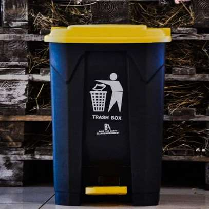 Black & yellow pedal opening dustbin image 2