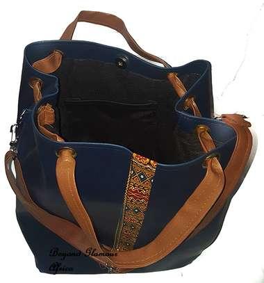 Ladies Blue Leather Handbag With Ankara Strip image 3