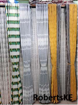 printed green and yellow curtain image 1