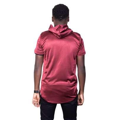 Maroon Hooded Tshirt image 2