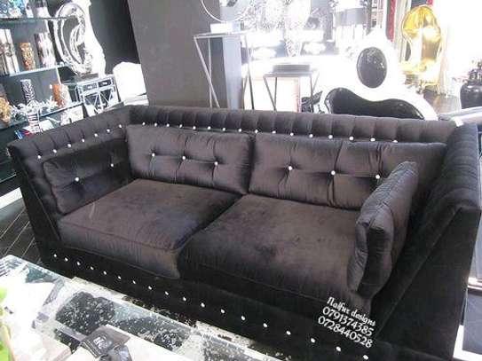 Modern three seater sofas/black sofas image 1