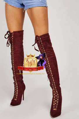 Lace Up Knee High Suedette Boots image 1