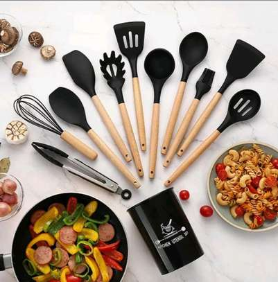 12pc Silicon cooking tools/Nonstick serving spoons/Cooking spoons image 1