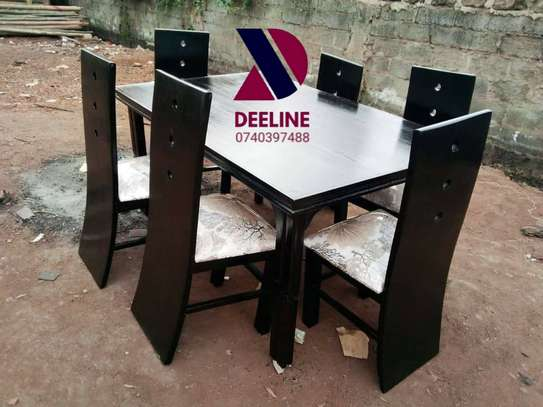 Black rectangular 6 seater dining table sets image 3