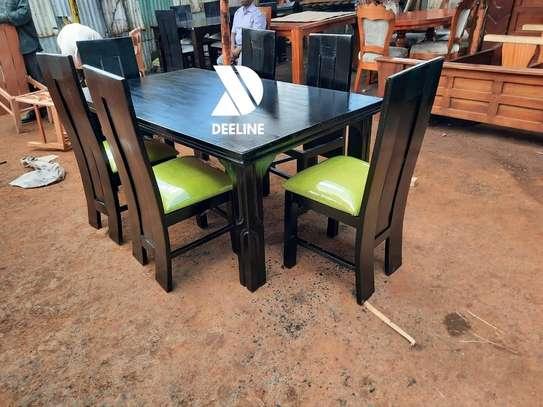 Black rectangular 6 seater dining table sets image 7