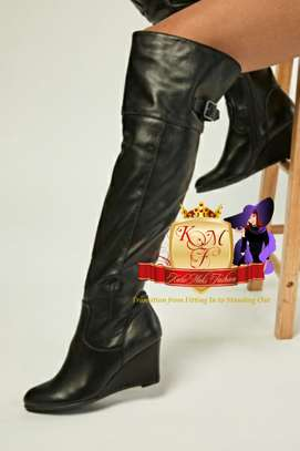 Black Faux Leather Slouchy Wedge Boots image 1