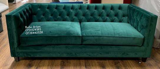 Tufted green sofas/three seater sofas image 1