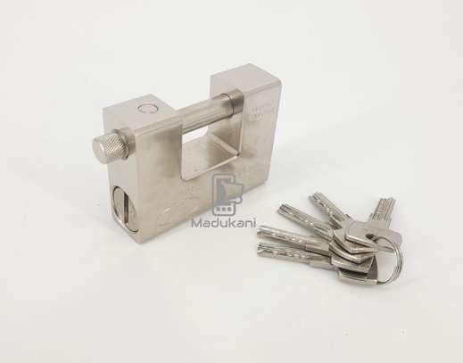 1Kg 94mm Hardened Solid Steel Monoblock Padlock, Thick Shackle, 5 Keys image 1
